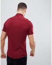 ASOS - Red Design Skinny Viscose Shirt In Burgundy for Men - Lyst