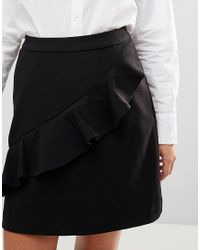 B.Young - Black Ruffle Panel Mini Skirt - Lyst