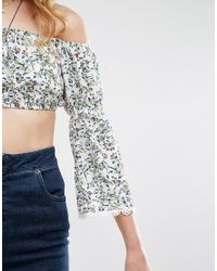 Glamorous - Blue Off Shoulder Festival Crop Top - Lyst