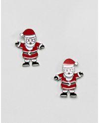 ASOS - Multicolor Christmas Santa Front Back Earrings - Lyst