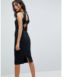 River Island - Black Bow Back High Neck Bodycon Dress - Lyst