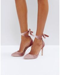 Truffle Collection - Natural Tie Ankle Court Shoe Heels - Lyst