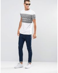 ASOS | Longline T-shirt With Sketchy Aztec Print In White for Men | Lyst