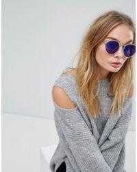 Mango - Blue Mirrored Lens Round Sunglasses - Lyst