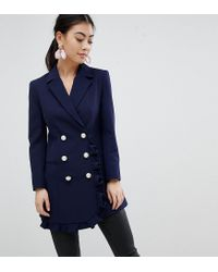 ASOS - Blue Blazer With Frill Detail - Lyst