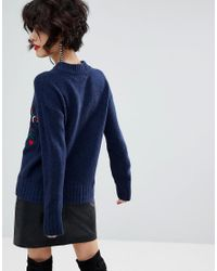 Mango - Blue Embroidered Knit Jumper - Lyst