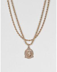 ASOS - Metallic Vintage Style Icon Pendant Rope Chain Multirow Necklace - Lyst