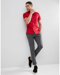 ASOS - Design Slim Shirt In Red With Short Sleeves for Men - Lyst