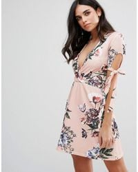 Oh My Love Plunge Tea Dress With Tie Sleeves In Floral Print in Pink ... bcfdba1b7