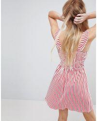 ASOS - Pink Asos Ruffle Strap Shirred Sundress In Stripe - Lyst