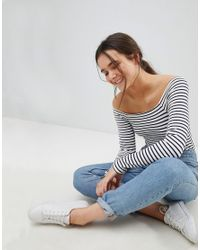 ASOS DESIGN - Blue Body With Off Shoulder In Stripe With Long Sleeves In Rib - Lyst