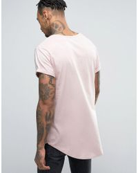 G-Star RAW - Pink Longline Vontoni Crew Neck T-shirt for Men - Lyst