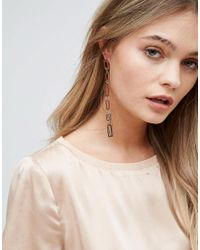 New Look - Metallic Rectangle Drop Earrings - Lyst