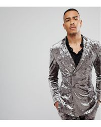 ASOS - Gray Asos Tall Super Skinny Double Breasted Tuxedo Suit Jacket In Grey Crushed Velvet for Men - Lyst