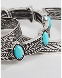 ASOS - Metallic Bangle Pack In Burnished Silver And Turquoise Stones for Men - Lyst