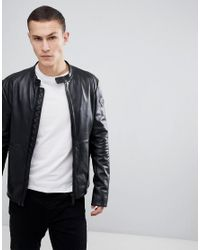 Emporio Armani - Leather Biker Jacket In Black for Men - Lyst