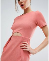ASOS - Pink Tulip Mini Dress With Cut Out In Texture - Lyst