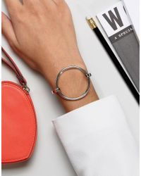 ASOS - Metallic Sleek Open Circle Cuff Bracelet - Lyst