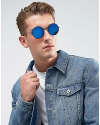 ASOS - Metal Round Sunglasses In Black With Blue Mirror Lens for Men - Lyst