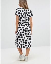 ASOS - White Nursing Dress With Double Layer In Blurred Spot - Lyst