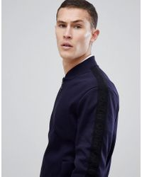 HUGO - Blue Taped Logo Sleeve Bomber Sweat In Navy for Men - Lyst