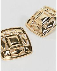 ASOS - Metallic Design Chunky Cut Out Square Stud Earrings - Lyst