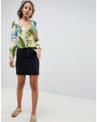 Missguided - Multicolor Tie Front Palm Print Top - Lyst