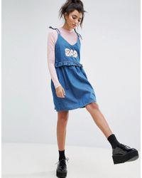 Lazy Oaf - Blue Bad Babydoll Denim Dress - Lyst