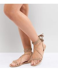 47ee5ce51edc ASOS Fayla Wide Fit Tie Leg Plaited Flat Sandals in Natural - Lyst