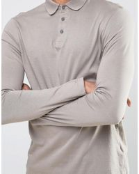 ASOS - Gray Tall Long Sleeve Jersey Polo for Men - Lyst