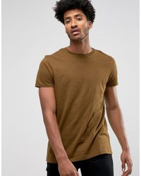 ASOS - Green Longline T-shirt With Crew Neck In Brown for Men - Lyst