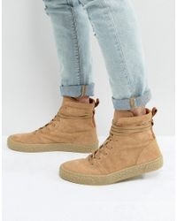ASOS DESIGN - Multicolor Trainer Boots In Stone Suede With Back Pull for Men - Lyst