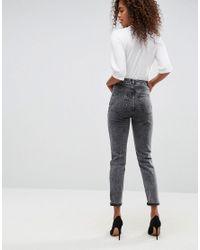 ASOS - Asos Farleigh High Waist Slim Mom Jeans In Moon Black Acid Wash - Lyst