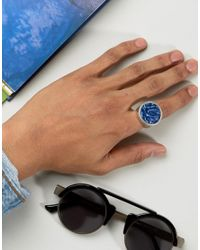 ASOS - Metallic Signet Ring In Burnished Silver With Blue Stone for Men - Lyst