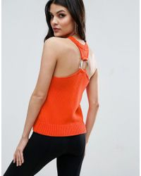 ASOS - Orange Knit Top With Racer Back Ring Detail - Lyst