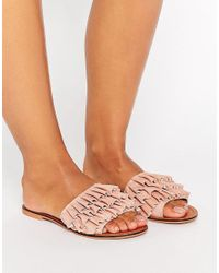 ASOS - Pink Fion Suede Ruffle Sliders - Lyst