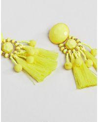 ASOS - Yellow Asos Bead & Pom Tassel Earrings - Lyst