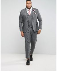 ASOS - Plus Wedding Skinny Suit Jacket In Woven Texture In Slate Gray for Men - Lyst