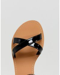 ASOS - Black Feel Good Flat Sandals - Lyst