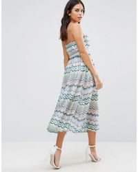 Traffic People - Blue Squiggle Print Bandeau Dress - Lyst