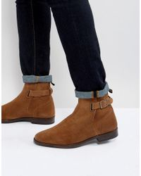 ASOS - Brown Chelsea Boots In Tan Suede With Leather Panel And Strap Detail for Men - Lyst