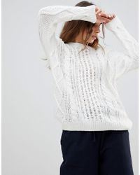 Monki - White Cable Knit Jumper - Lyst