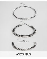 ASOS - Metallic Plus Mixed Chain Bracelet Pack In Burnished Silver for Men - Lyst