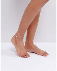 ASOS - Metallic Pack Of 3 Pearl And Arrow Charm Anklets - Lyst