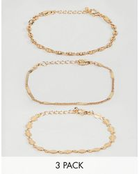 ASOS - Metallic Pack Of 3 Bracelets With Delicate Chain And Disc Detail In Gold - Lyst