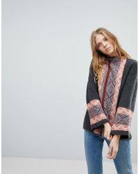 Vila - Gray Geo- Trim High Neck Sweater - Lyst
