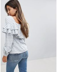 Fashion Union - Gray Peplum Blouse With Ruffles In Check - Lyst