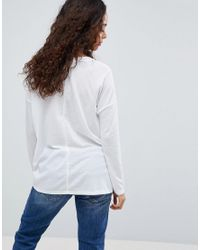ASOS - White Top With V-neck In Oversized Lightweight Rib - Lyst