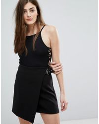 New Look - Black Lace Up Side Body - Lyst