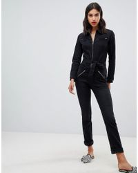 24f3002e67fa Ba sh Willow Jumpsuit In Washed Denim in Black - Lyst